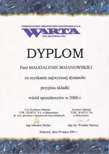 Dyplom za uzyskanie największej dynamiki przypisu składki wsród sprzedawców w 2000 r.