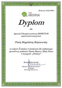 """Dyplom za zajęcie I miejsca w konkursie dla najlepszego sprzedawcy pakietów Hestia Biznes i Moja Firma w kategorii """"Debiuty"""""""